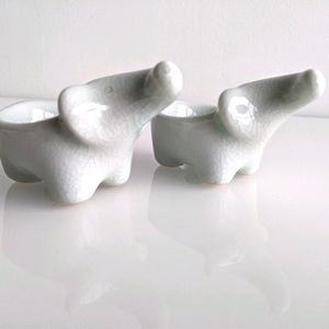 Elephant tealight candle holder pair